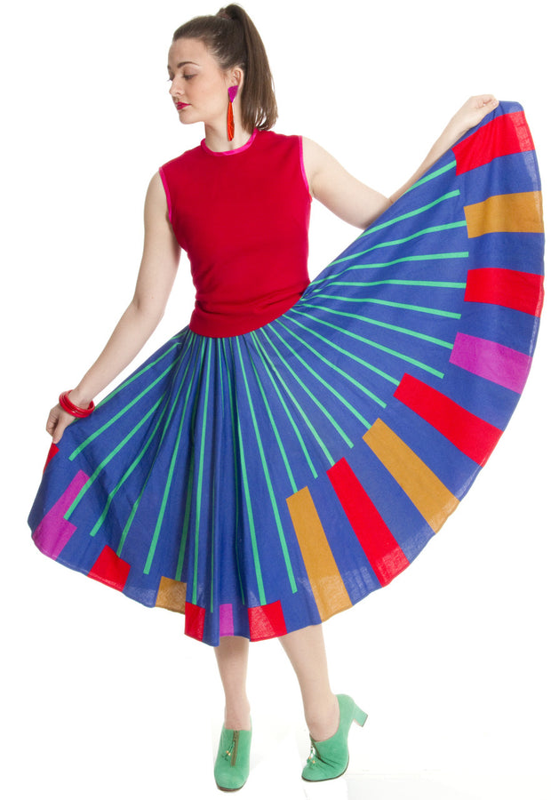 1950s Color Block vintage circle skirt