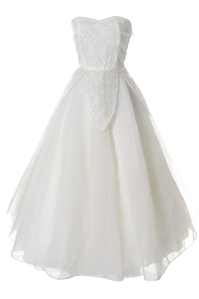 1950\'s vintage wedding dress unworn custom made organza and lace ...