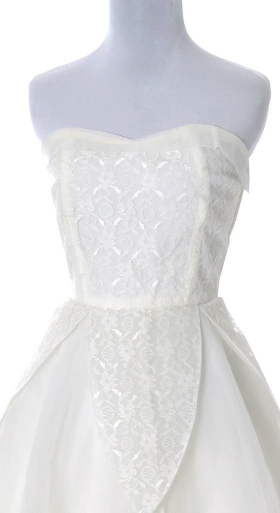 vintage wedding dress 1950's lace organza strapless
