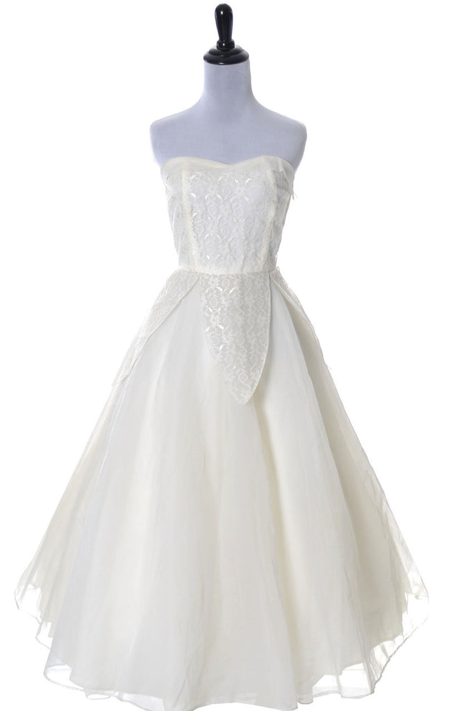 vintage 50s wedding dress strapless lace organza
