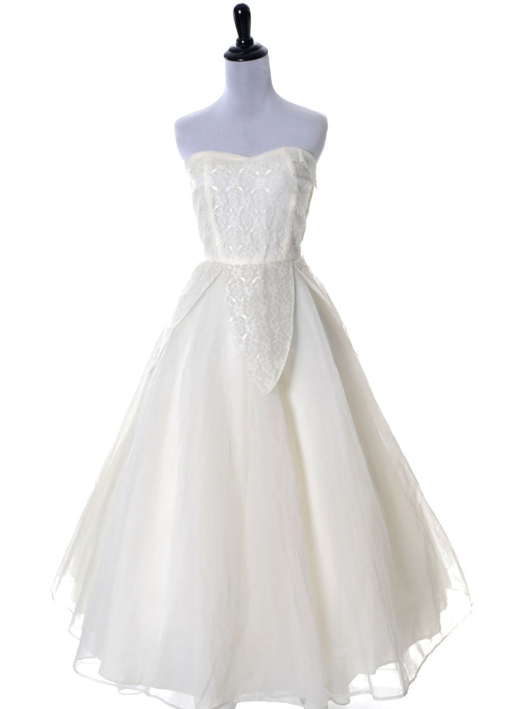 1950s vintage dress wedding gown lace organza