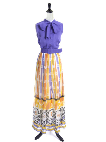 1970's Vintage Maxi Dress with Matching Belt and Bow 40B - Dressing Vintage