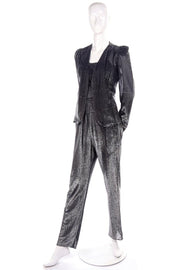 1970's vintage metallic jumpsuit and cardigan jacket 4/6
