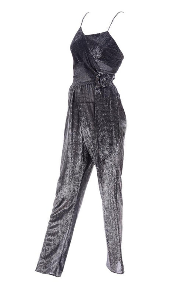 Studio 54 1970's silver jumpsuit and jacket