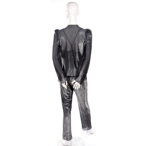 1970's Studio 54 vintage metallic jumpsuit and cardigan jacket