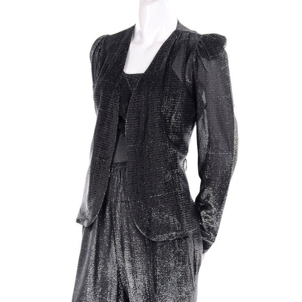1970's vintage metallic silver jumpsuit and tie cardigan jacket