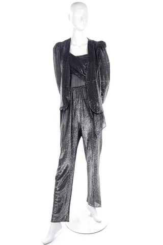 1970's vintage metallic jumpsuit and cardigan jacket