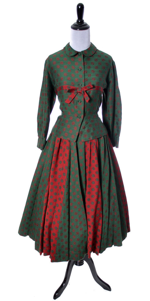 Bessie Becker vintage dirndl skirt and top 1950's red green