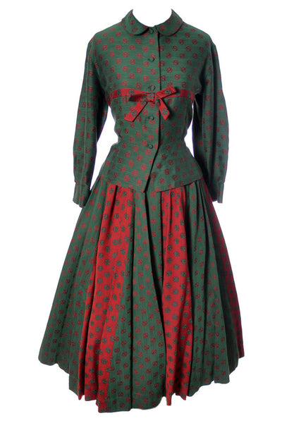 Bessie Becker Vintage 1950s 2 Piece Dirndl Skirt and Top Red & Green - Dressing Vintage