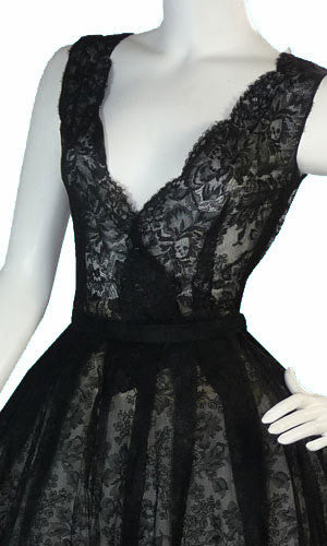 Rare Christian Dior Vintage Dress 1950s Black Lace