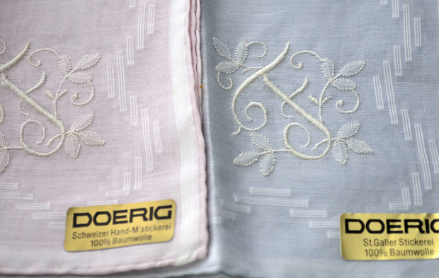 2 Vintage Monogrammed F Handkerchiefs Doerig New with Tags - Dressing Vintage