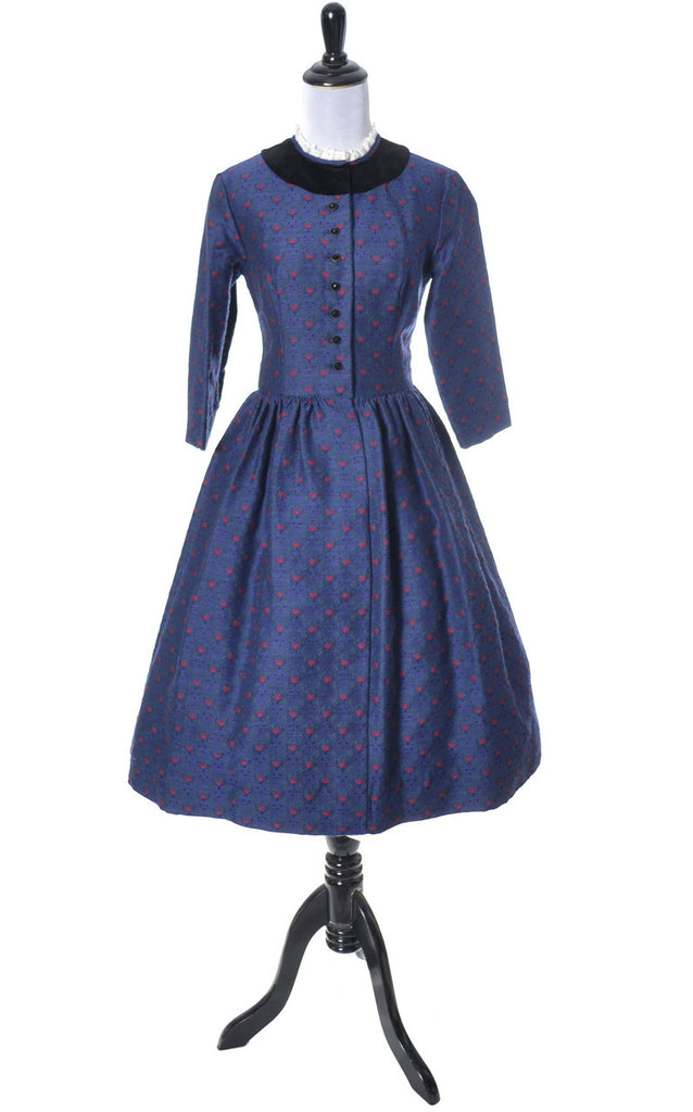 Early 1960\'s Lanz of Salzburg vintage dress in blue floral print ...