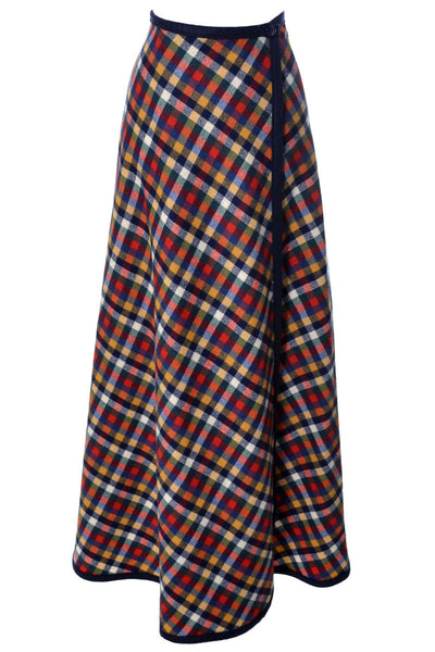 1960's Pendleton Knockabouts Red Plaid Wrap Vintage Maxi Skirt - Dressing Vintage