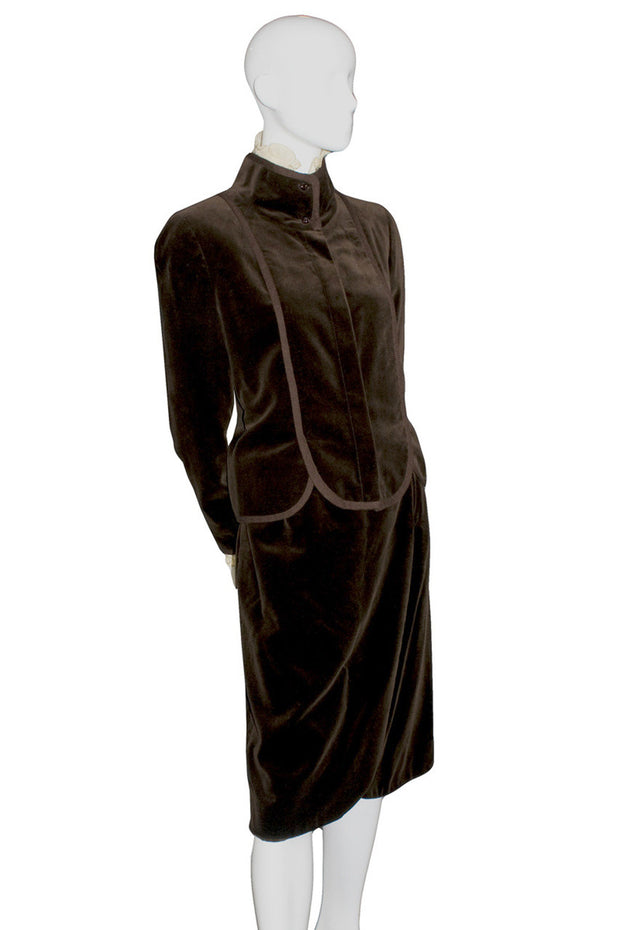 Vintage Valentino brown velvet skirt suit - Dressing Vintage