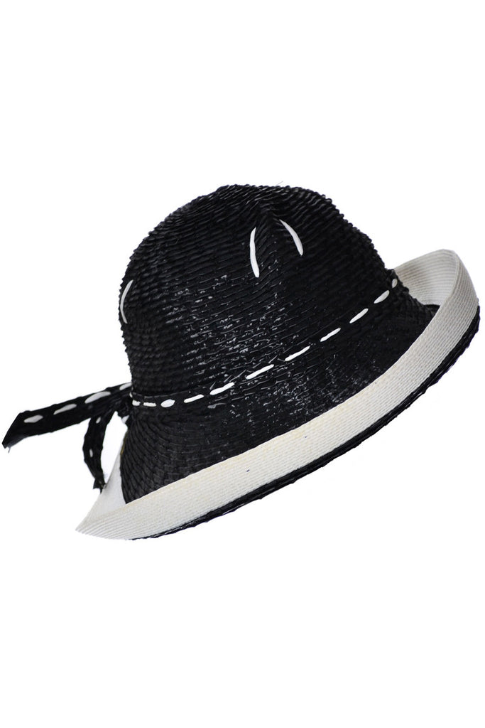 YSL blue and white straw hat