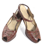 1940's vintage shoes peep toe alligator