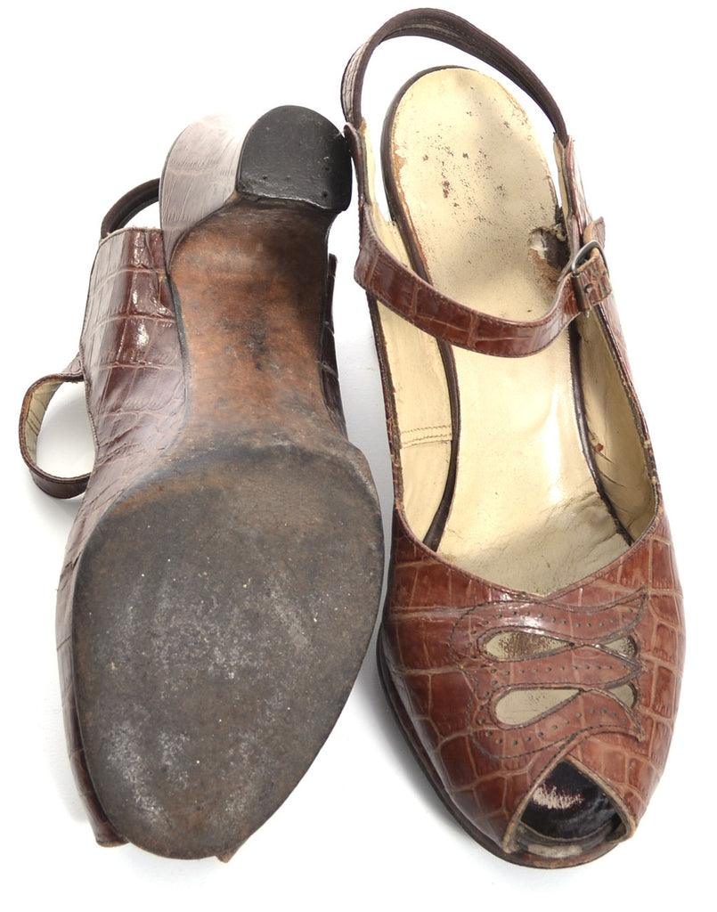 Alligator peep toe vintage shoes 1940s