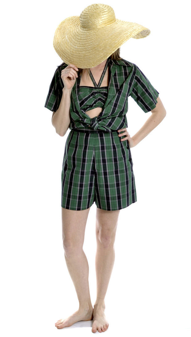 3 Piece Rare 1950s McMullen Plaid Vintage Playsuit Shorts Halter and Shirt Set - Dressing Vintage
