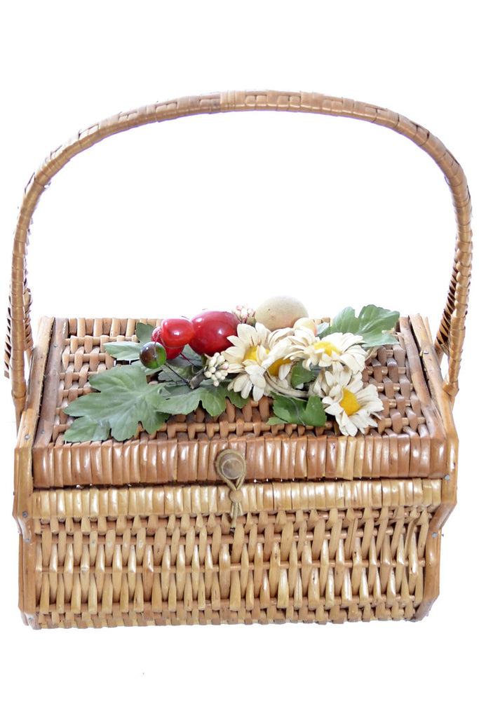 Vintage basket handbag wicker