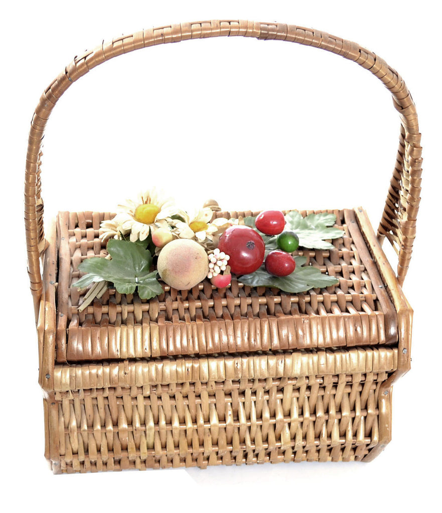 Vintage handbag wicker fruit