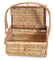1950s Wicker Basket Vintage Handbag Fruit Flowers - Dressing Vintage