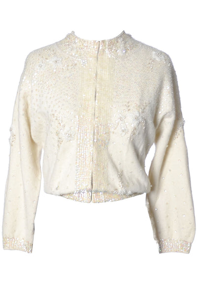 1950's Winter White Beaded Sweater McMullen - Dressing Vintage