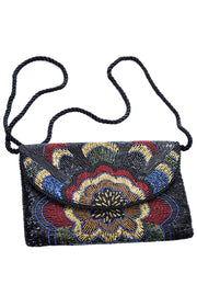 Colorful Vintage Art Deco Inspired Beaded Handbag with Shoulder Strap - Dressing Vintage