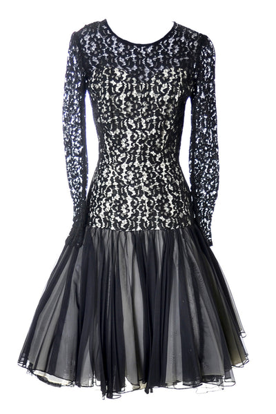 1950's Black Lace Vintage Dress with Organza Overlay & Satin - Dressing Vintage