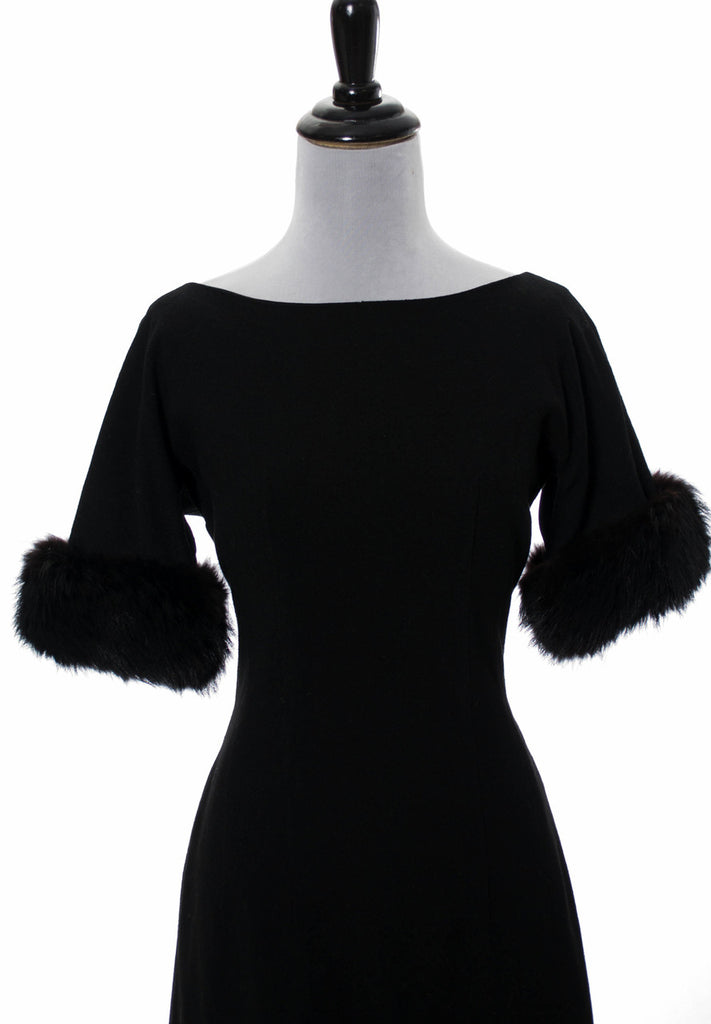 1960s vintage dress with fur trim