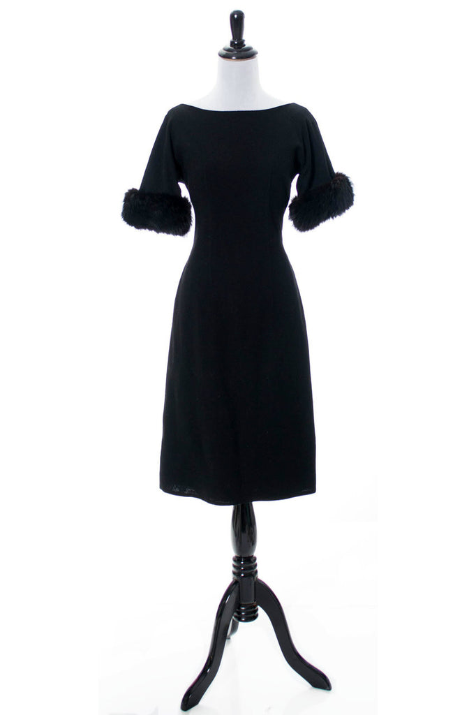 Vintage Black cocktail dress with fur trim