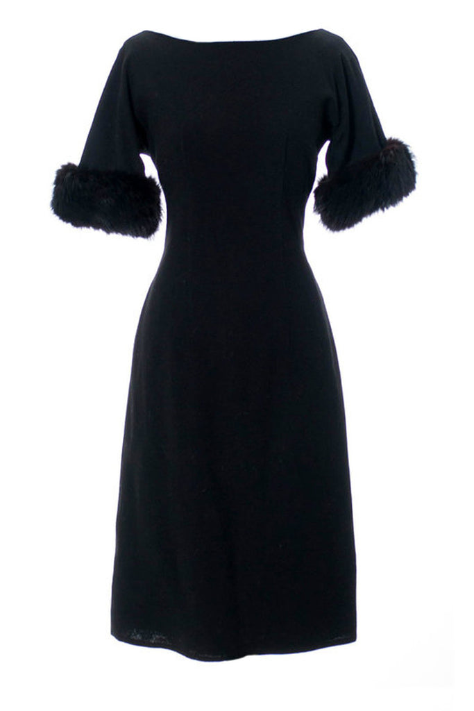 Black wool and fur vintage holiday dress