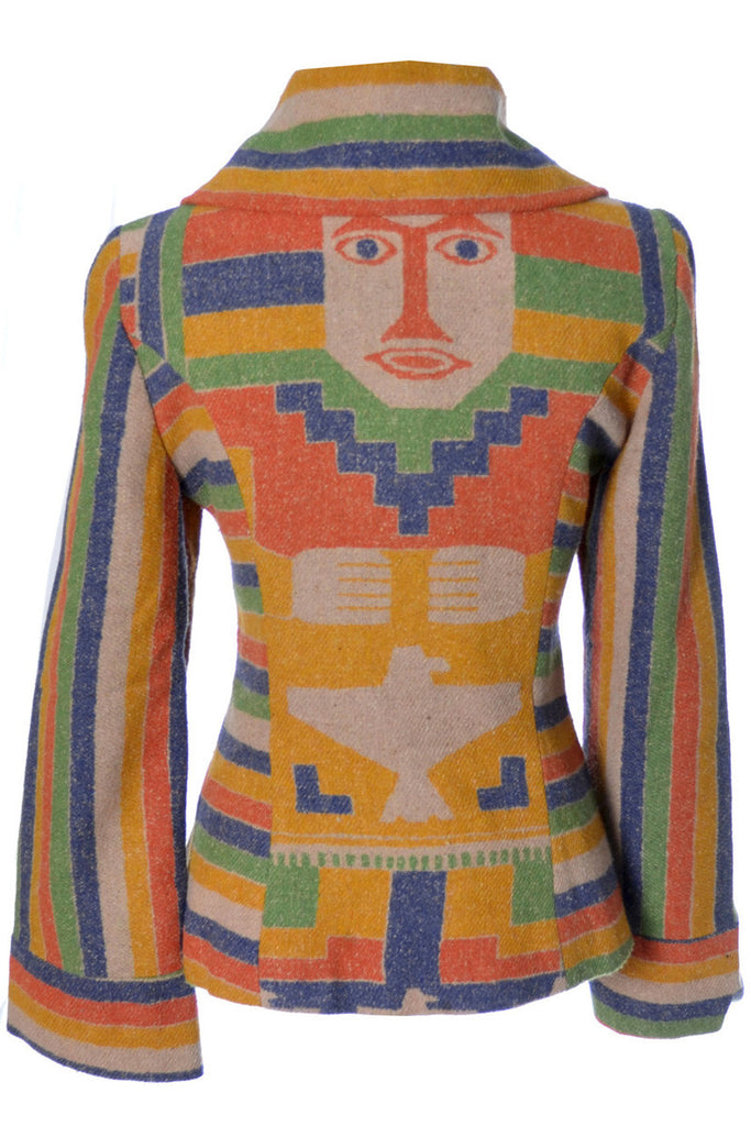 Post Time Western Vintage Blanket coat jacket Aztec Face on back