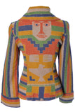 Post Time Western Vintage Blanket coat jacket Aztec Face on back - Dressing Vintage