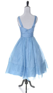 1950's Blue Organza Vintage Dress with Flower and Sash - Dressing Vintage