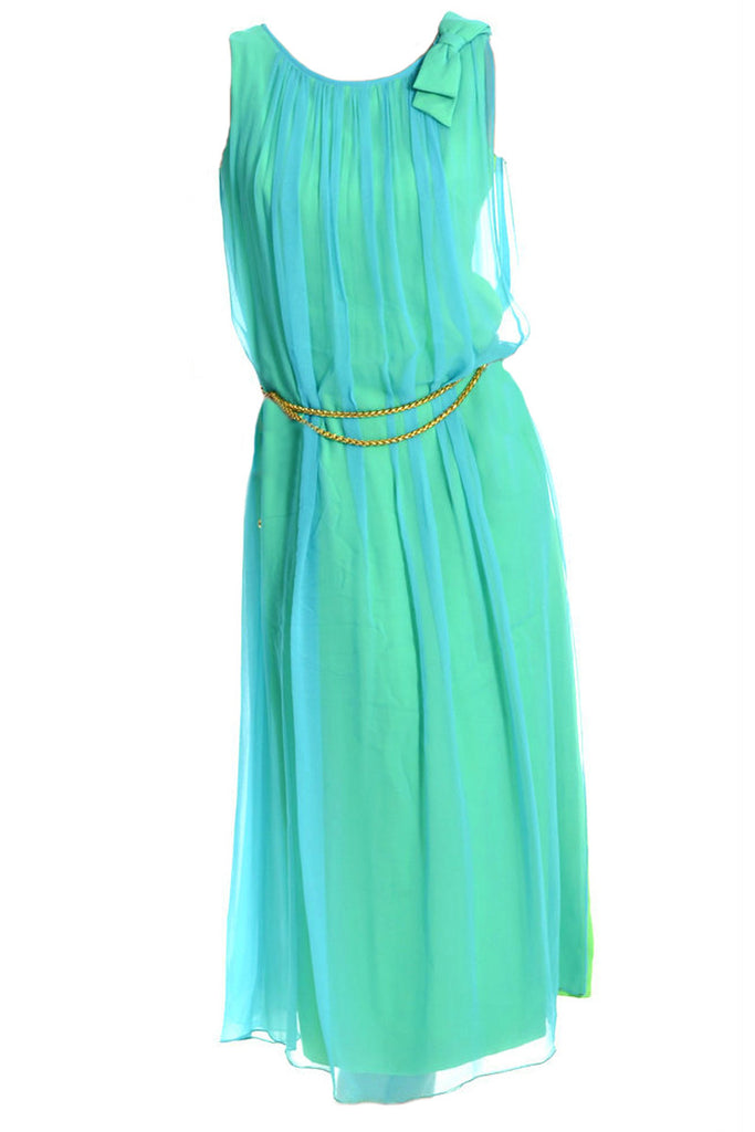 1960s teal grecian dress