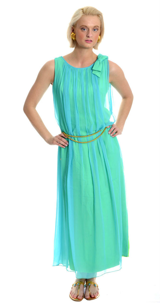 aqua chiffon vintage 1960's long dress