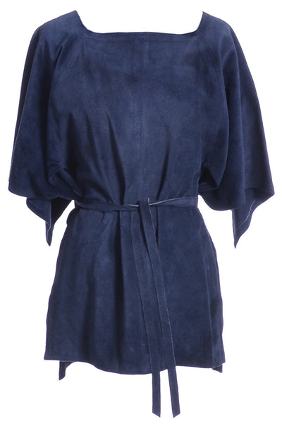 1970s Blue Suede Vintage Top from Beged Or - Dressing Vintage