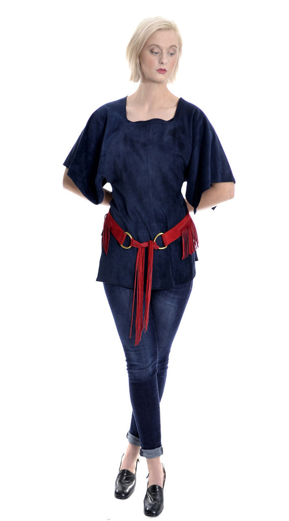 vintage blue suede top red suede fringe belt