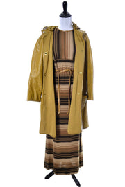 Bonnie Cashin Mustard Leather Vintage Coat and Striped Maxi Dress