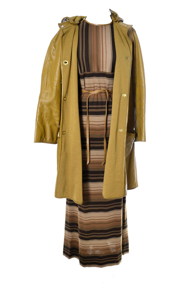 1970's Bonnie Cashin for Sills Leather Vintage Coat and Striped Maxi Dress - Dressing Vintage