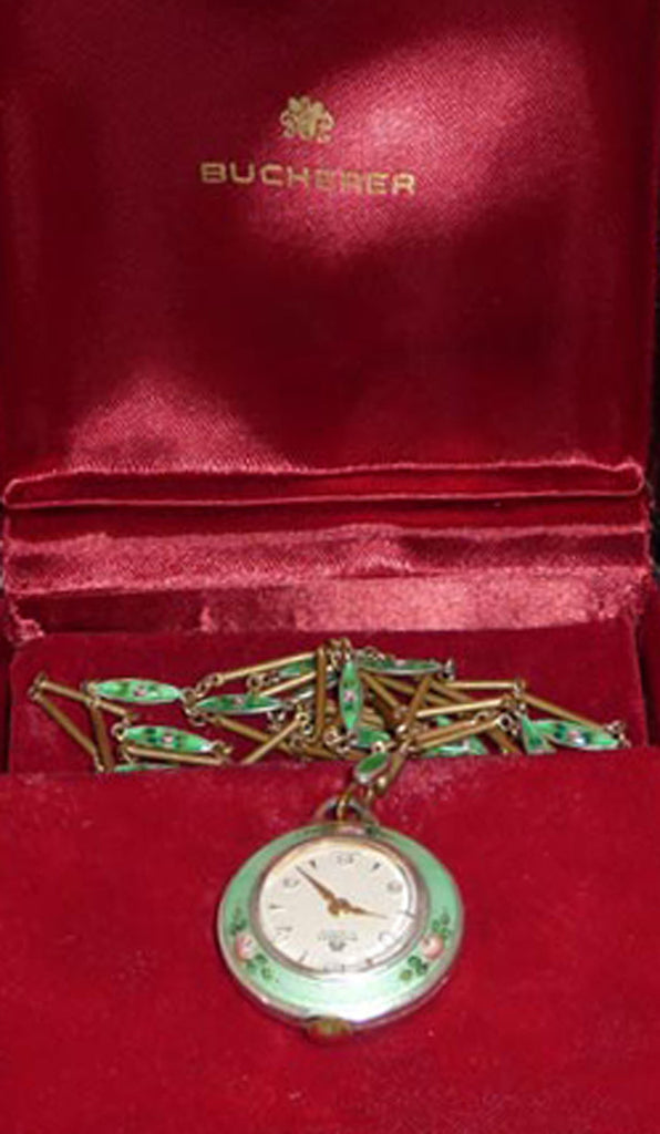 Bucherer Rare Vintage 17 Jewels Enamel Watch Pendant Necklace in Original Box
