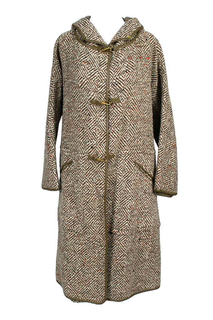 1960's Bonnie Cashin Vintage Tweed Hooded Coat and Skirt Suit Ensemble