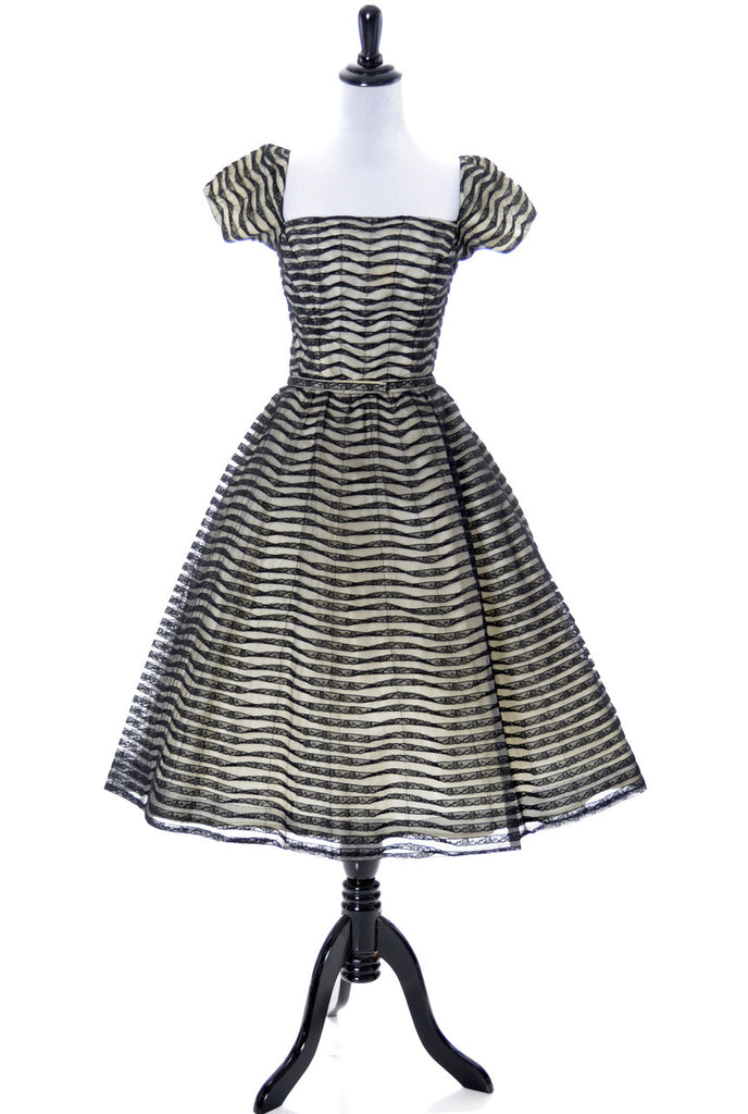 1950s Ceil Chapman Vintage Dress with Black Lace Trim - Dressing Vintage