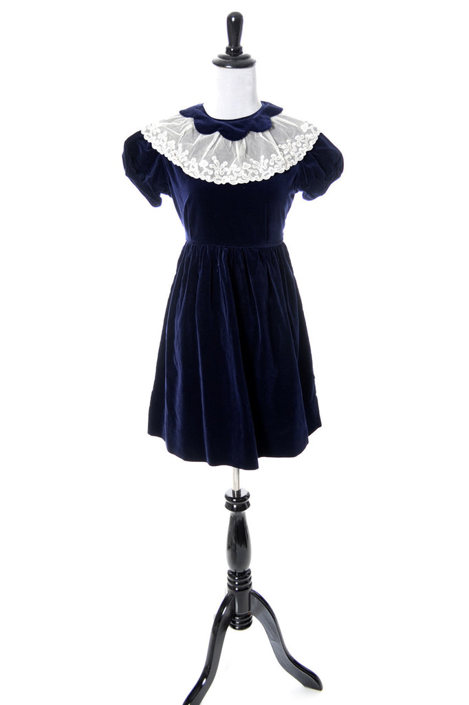 Celeste vintage little girl's blue velvet dress