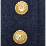 1970s or 1980s Navy Blue Wool Vintage Chanel Boutique Skirt Suit with CC Logo Buttons