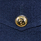 1970s or 1980s Navy Blue Wool Vintage Chanel Boutique Skirt Suit Gold Logo CC Buttons