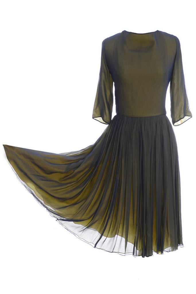 Green and yellow silk chiffon satin dress