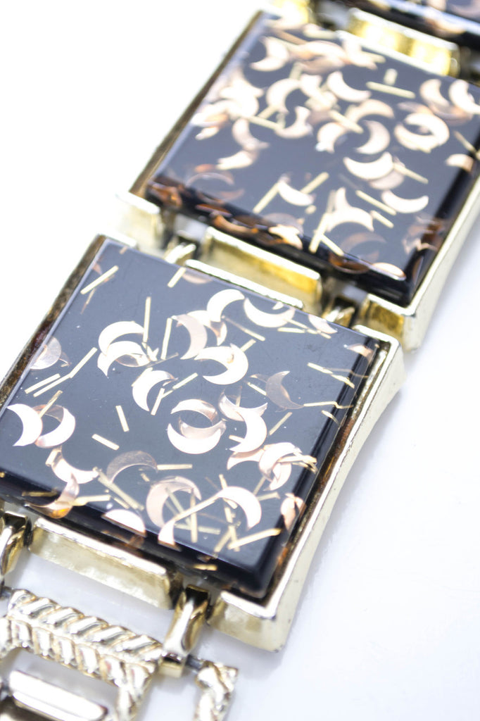 1950s Vintage Confetti Lucite Bracelet Black with Gold Moons