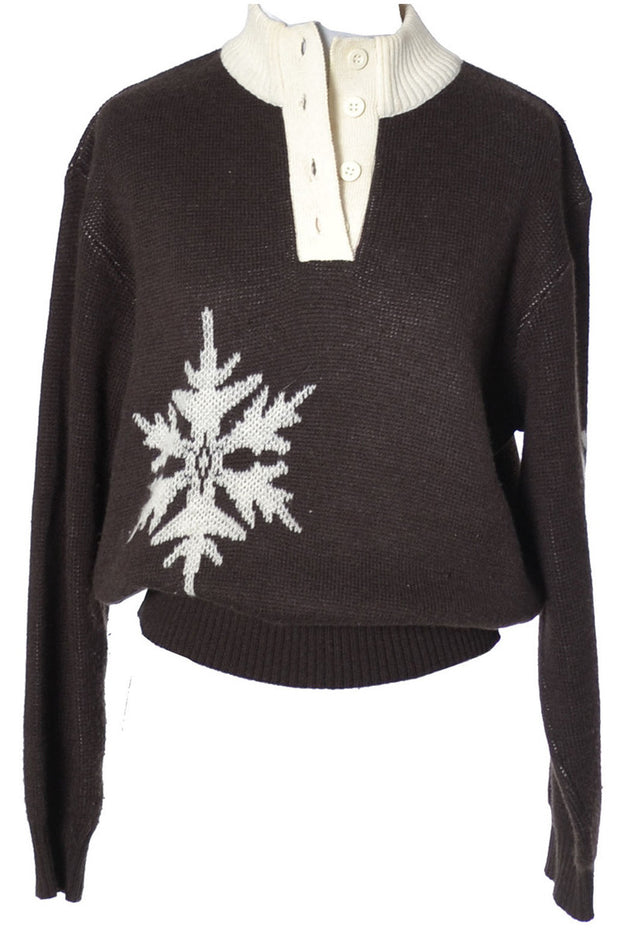 Vintage Courreges Cashmere Wool Knit Snowflake Sweater - Dressing Vintage