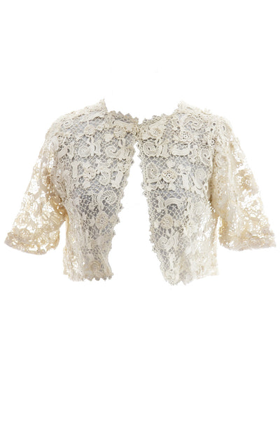 Fine Crochet Creamy Ivory Lace Cropped Vintage Jacket - Dressing Vintage
